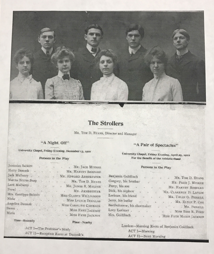 A 1901 Strollers program