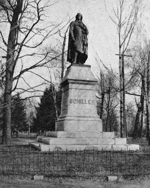 Schiller monument in 1898. Source: The Story of Columbus OH 977.13 C72st, p. 70.