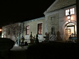 The Bexley Library at night.