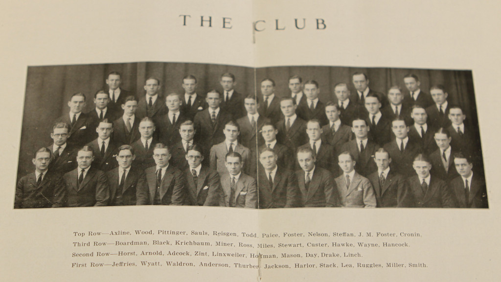 A group photo of the Scarlet Mask Club from a 1921 program. James Thurber is pictured on the bottom row.
