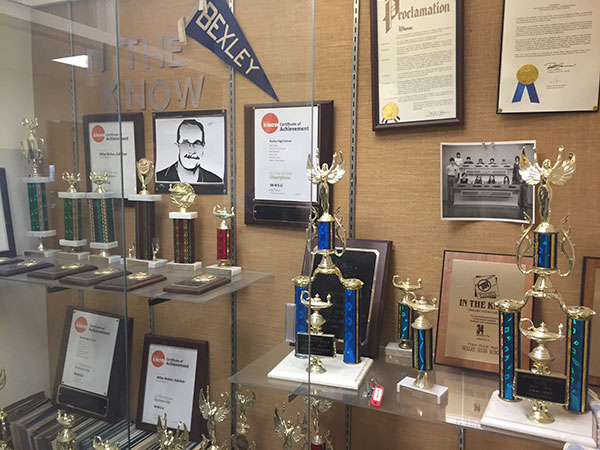 A trophy case at Bexley High School spotlights the school's success on WOSU's high school quiz tournament show, In The Know.