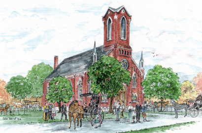Illustration of a Bexley church by Edie Mae Herrel