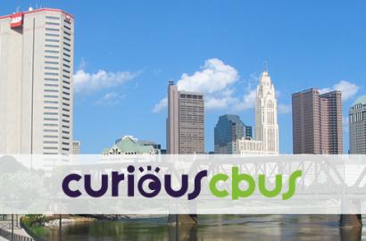 curious cbus logo and Columbus skyline