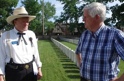 Historian Jeff Darbee at Camp Chase cemetery.