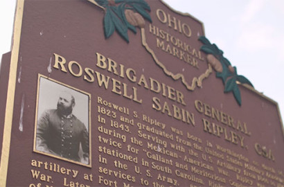 Roswell Ripley Ohio Historical Marker in Worthington, Ohio.
